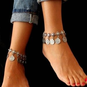 Jewelry - Boho Silver Coin Charm Anklet Ankle Bracelet Gypsy